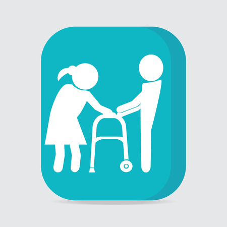 old couple walking: Man helps elderly woman patient with a walker, button vector illustration