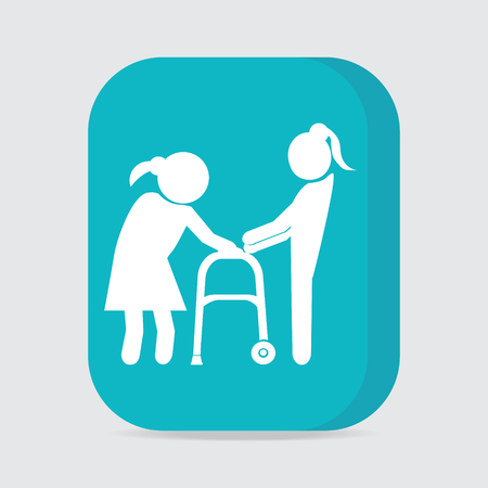 helps: Woman helps elderly woman patient with a walker, button vector illustration