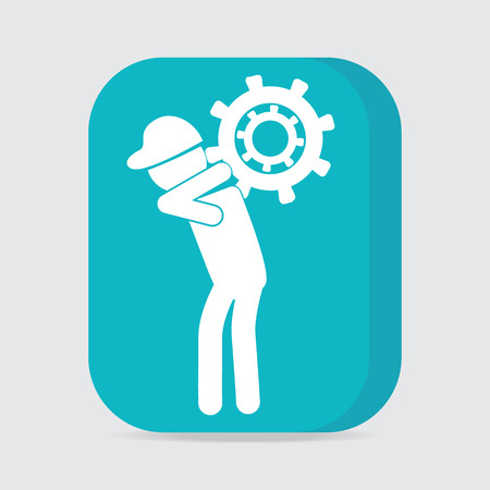 relaciones laborales: Man carrying with gear icon, worker sign button vector illustration