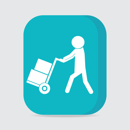 handcart: Man with handcart symbol, button vector illustration