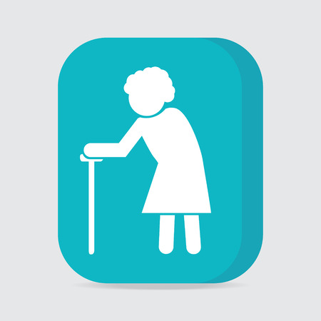 old people: Elderly woman symbol. old people icon, button vector illustration Illustration