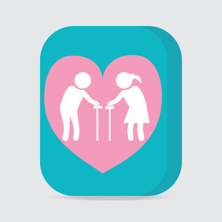 old people: Elderly couple with love symbol. old people couple with heart icon vector illustration