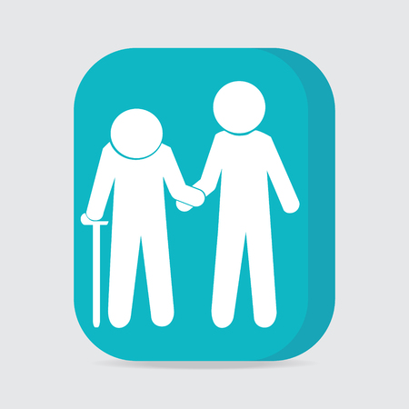 helps: Man helps elderly patient icon, button vector illustration