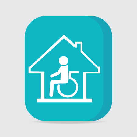 'nursing home': Disabled care, Nursing home sign icon. Illustration