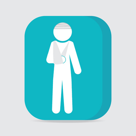 injured: Injured men in bandage sign icon illustration