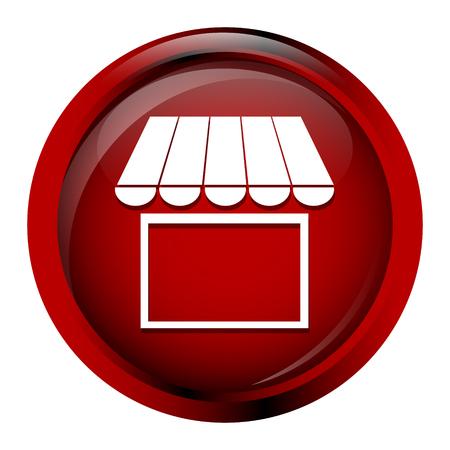 icono de creación de tiendas, tienda icono de la construcción en el botón rojo