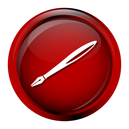 poet: Quill pen icon on red button vector illustration