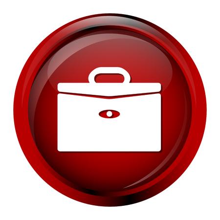 brief: Briefcase icon on red button, brief case sign Illustration