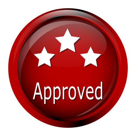 acception: Approved and stars on red button