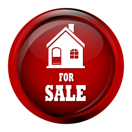 home for sale: Home for sale icon on red circle button