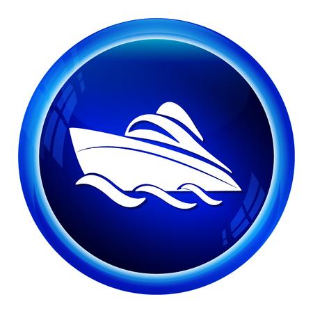 speedboat: Speedboat symbol icon, button vector illustration