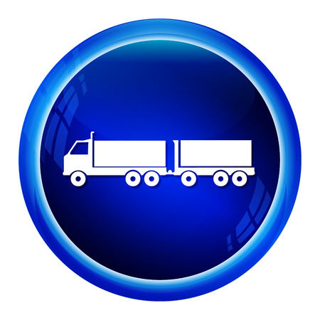 blue signage: Trailer Truck icon, symbol button vector illustration