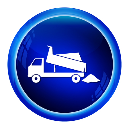 blue signage: Dump Truck icon, symbol button vector illustration Illustration