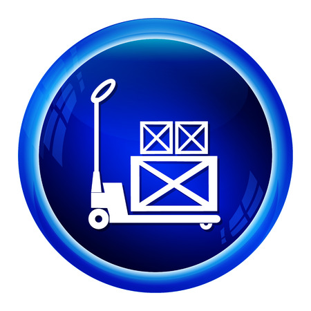 hydraulic platform: Hand pallet jack lift sign, Hand Pallet Truck and crate icon illustration