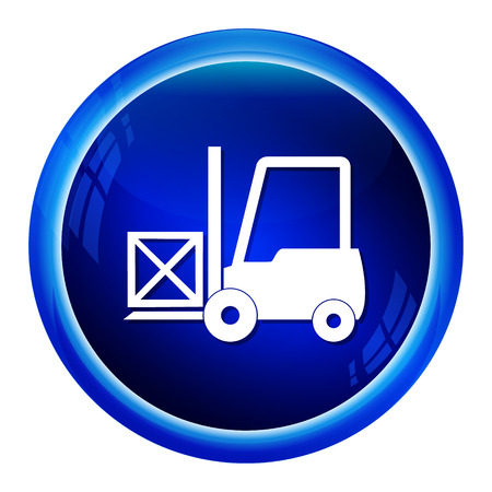 crate: Forklift and crate icon vector illustration Illustration
