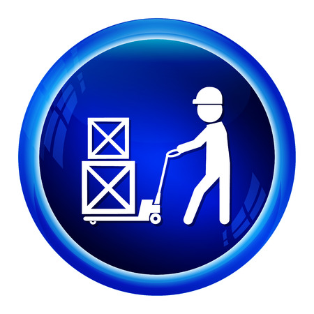 hydraulic platform: Man with hand pallet jack lift sign, Hand Pallet Truck icon illustration