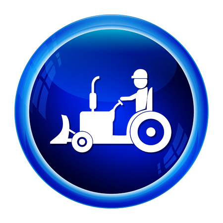 cultivating: Tractor and driver icon, Agriculture tractor icon vector illustration Illustration