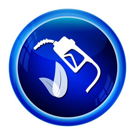 gasoline pump: Gasoline pump and leaf sign, icon illustration