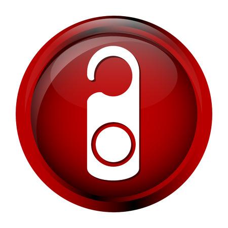 quiet room: Door tag Lock Hanger, Hotel sign icon symbol button vector illustration Illustration