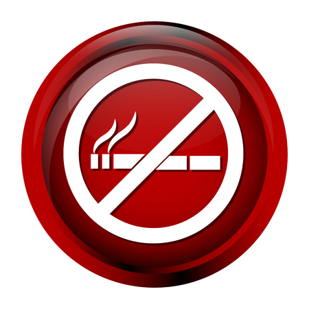 pernicious habit: No smoking icon, sign button vector illustration
