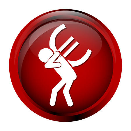 Man carrying with a money icon, euro sign button vector illustration  イラスト・ベクター素材