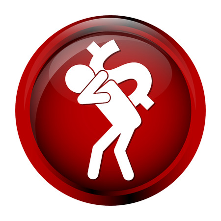 cupidity: Man carrying with a money icon, dollar sign button vector illustration