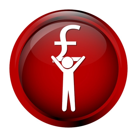 injustice: Man carrying with a money icon, pound sign button vector illustration Illustration