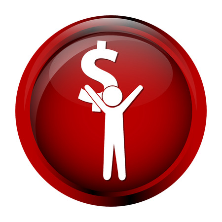avidity: Man carrying with a money icon, dollar sign button vector illustration