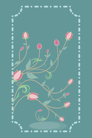 Flowers on green background, vintage style,  Greeting card, vector invitation