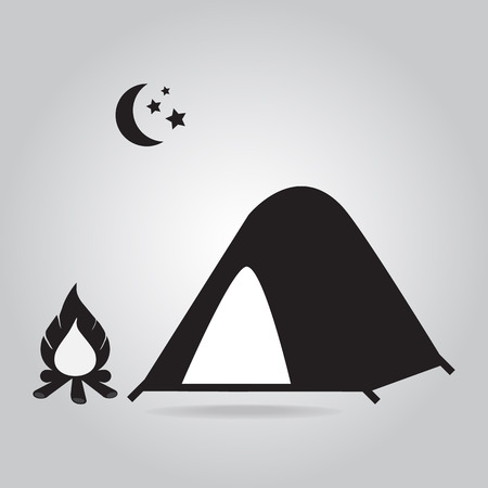 Tent with bonfire icon, camping symbol