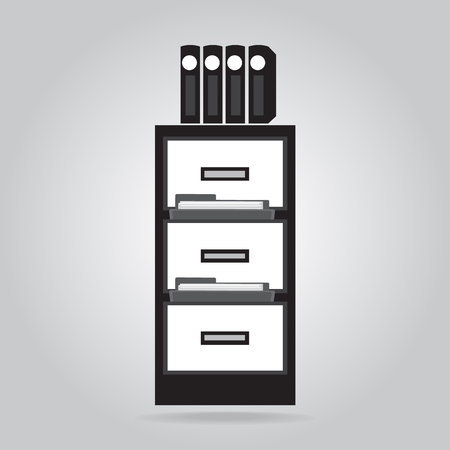 file folder: Cabinet and files icon Illustration