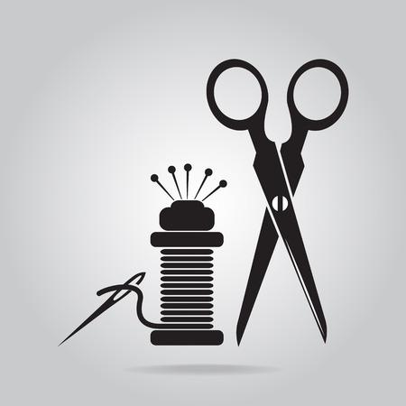 Sewing icon, scissors, thread and needle icon Illustration