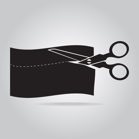 cut off: Scissors cut off the paper or cloth icon, vector illustration