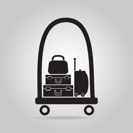 luggage carrier: Luggage and cart icon, symbol button vector illustration