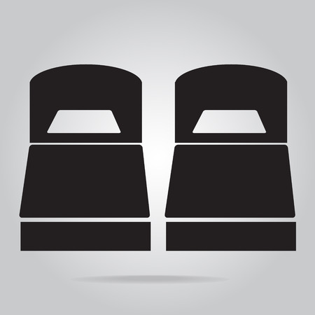 twin bed: Twin bed icon sign vector illustration