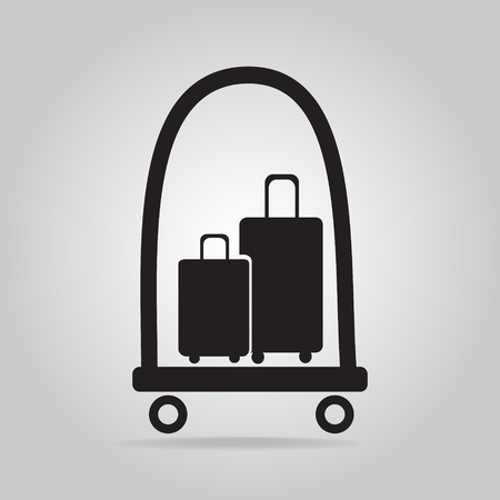 trolley case: Luggage and cart icon, symbol button vector illustration
