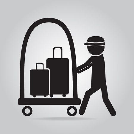 Man with Luggage and cart icon, symbol button vector illustration