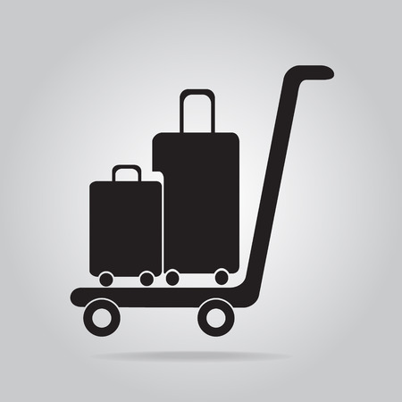 luggage carrier: Luggage and cart icon, symbol vector illustration