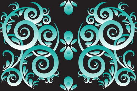 green swirl: Green abstract swirl vector ornament  background Illustration