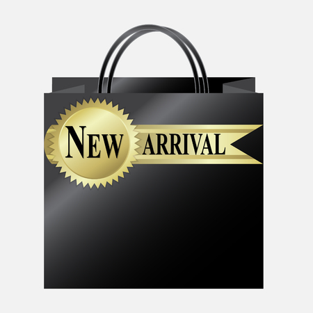 arrival: Shopping paper bag with New Arrival label Illustration