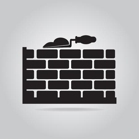 brickwall: Brickwall and trowel icon, building sign illustration Illustration