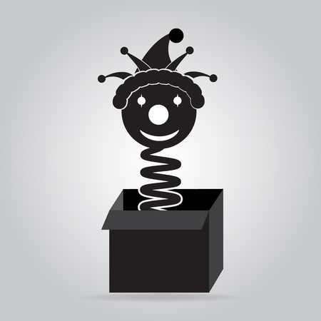 surprise box: Jack jumping out from a box icon, surprise box icon