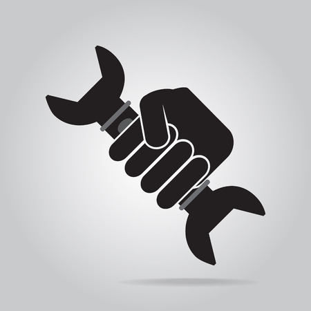 Hand holding with working tool icon
