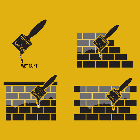 paint tool: Paint brush and wall, working tool icon, wet paint icon
