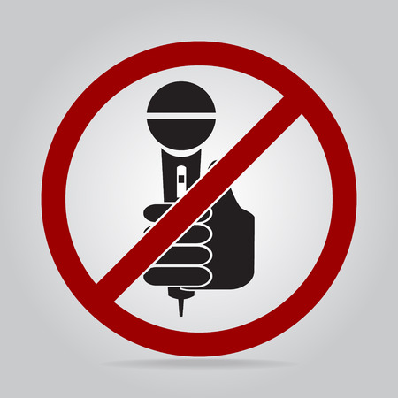 answering: Hand holding microphone icon, No interview answering question concept