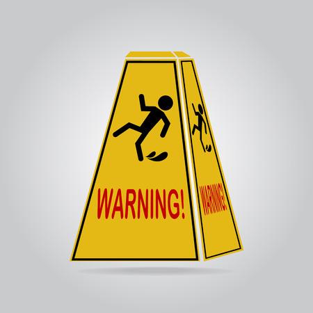 wet floor sign: Wet floor warning sign, icon  illustration