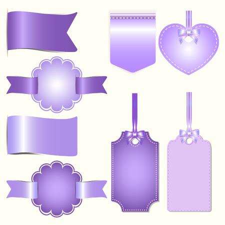 comerce: Set of purple badges label and ribbon, Greeting card, tag illustration