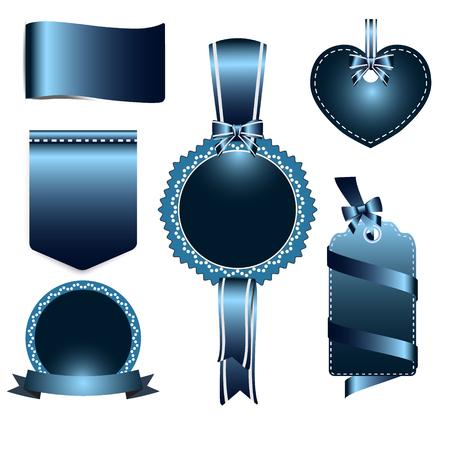 azul marino: Conjunto de color azul marino insignias etiqueta y la cinta, tarjeta de felicitación, ilustración etiqueta