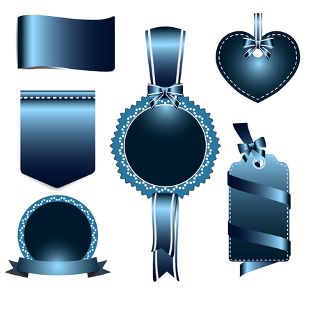 azul marino: Set of navy blue badges label and ribbon, Greeting card, tag illustration