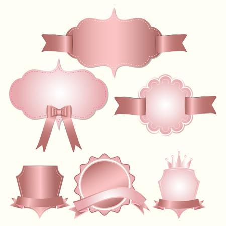 Set of badges label and ribbon, Greeting card, vector tag illustration